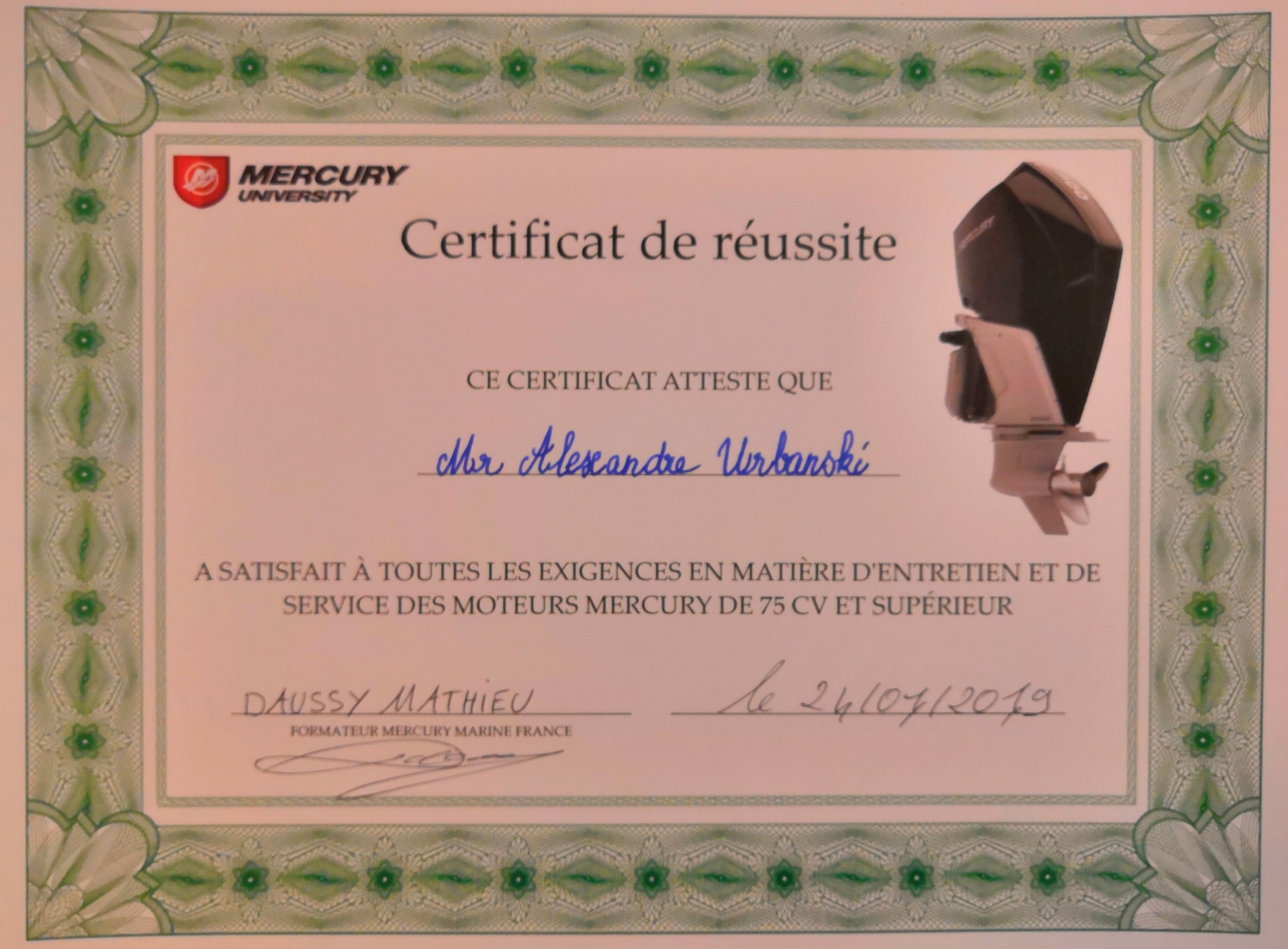 Certification Mercury
